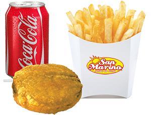 Battered Burger + Chips + Can